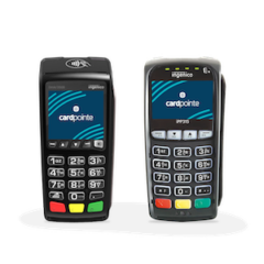 3500 and iPP215 small POS terminal hardware to process credit and debit payments Card Connect Paradise Clover Merchant Services Charge It Now